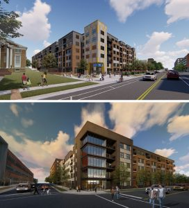 Two images show proposed project renderings of large apartment buildings.